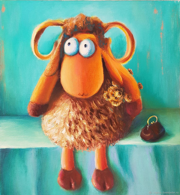 Картина маслом натюрморт с игрушками Овечка Долли (Dolly), Картины, Ревда,  Фото №1