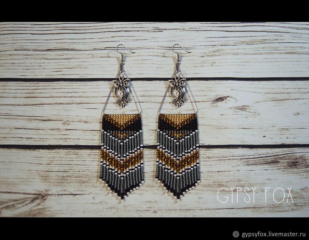 Owl beaded earrings', Tassel earrings, Tyumen,  Фото №1