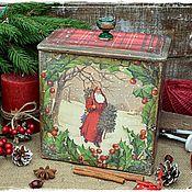 """Для дома и интерьера ручной работы. Ярмарка Мастеров - ручная работа Новогодний короб """"Дед Мороз"""". Handmade."""