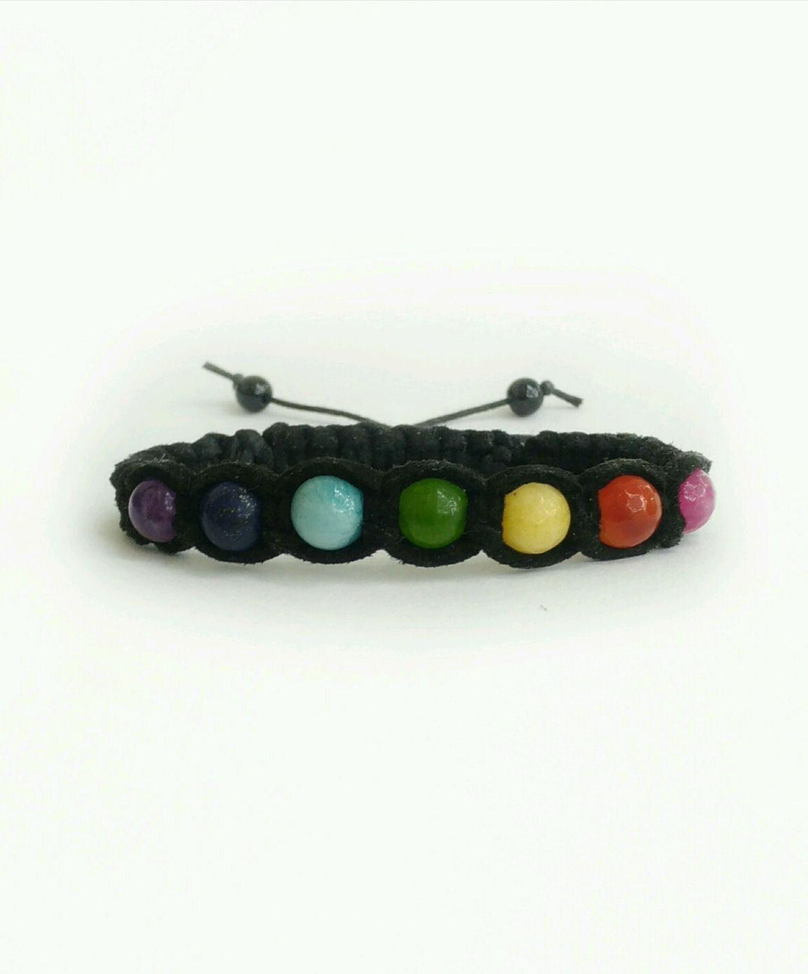 7 chakras bracelet made of natural stones in the skin, Bead bracelet, Moscow,  Фото №1