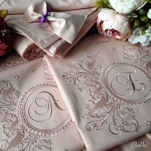 Текстиль, ковры ручной работы. Ярмарка Мастеров - ручная работа. Купить Постельное белье с вышивкой - Королева в розовом сатин тенсель. Handmade.