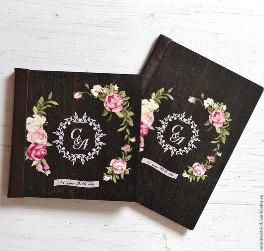 Свадебные фотоальбомы ручной работы. Ярмарка Мастеров - ручная работа. Купить Свадебная книга пожеланий в деревянной обложке 4. Handmade.