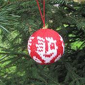 Подарки к праздникам ручной работы. Ярмарка Мастеров - ручная работа Ёлочный шарик к году Петуха. Handmade.