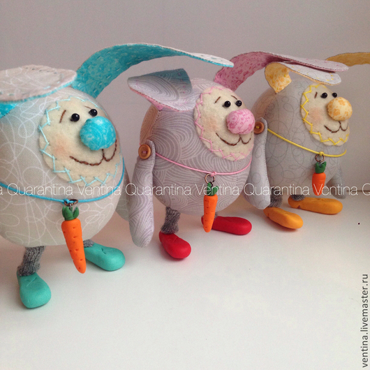 Голубой кролик ПРОДАН. Розовый и желтый БРОНЬ.