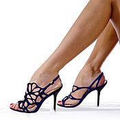 handmade. Livemaster - original item The original sandals made of genuine leather blue color. Handmade.