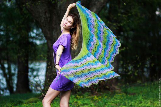 """Шали, палантины ручной работы. Ярмарка Мастеров - ручная работа. Купить шаль """"Лиловое цветение"""". Handmade. Комбинированный, натуральная шерсть"""
