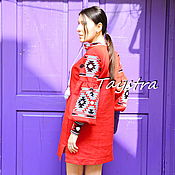 Одежда handmade. Livemaster - original item Embroidered Dress, Short Red Dress Tunic Linen. Handmade.