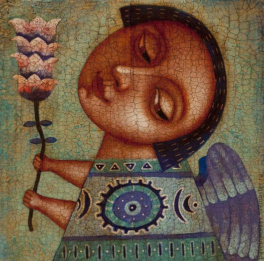 """Персональные подарки ручной работы. Ярмарка Мастеров - ручная работа. Купить """"Ангел с цветком 2"""", авторская печать. Handmade. Подарок"""