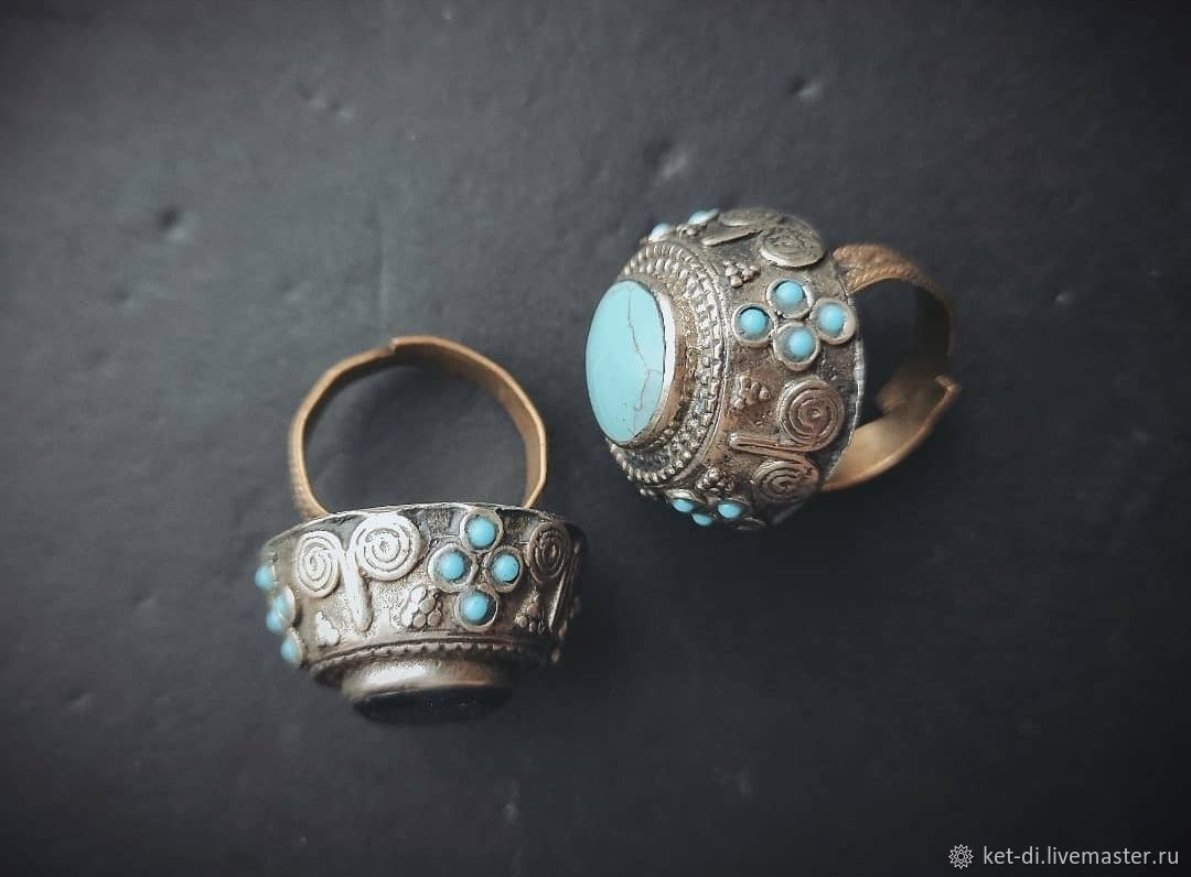Rings with onyx and turquoise Vintage, Rings, Moscow,  Фото №1