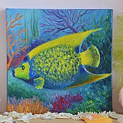 Картины и панно handmade. Livemaster - original item Tropical Fish Oil Painting 20/20 cm. Handmade.