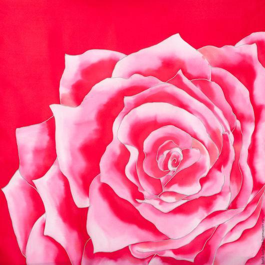 """Шали, палантины ручной работы. Ярмарка Мастеров - ручная работа. Купить Батик платок """"Красный цветок"""". Handmade. Ярко-красный"""