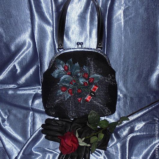 Женские сумки ручной работы. Ярмарка Мастеров - ручная работа. Купить Валяная сумочка Камея. Handmade. Черный, сумочка с фермуаром