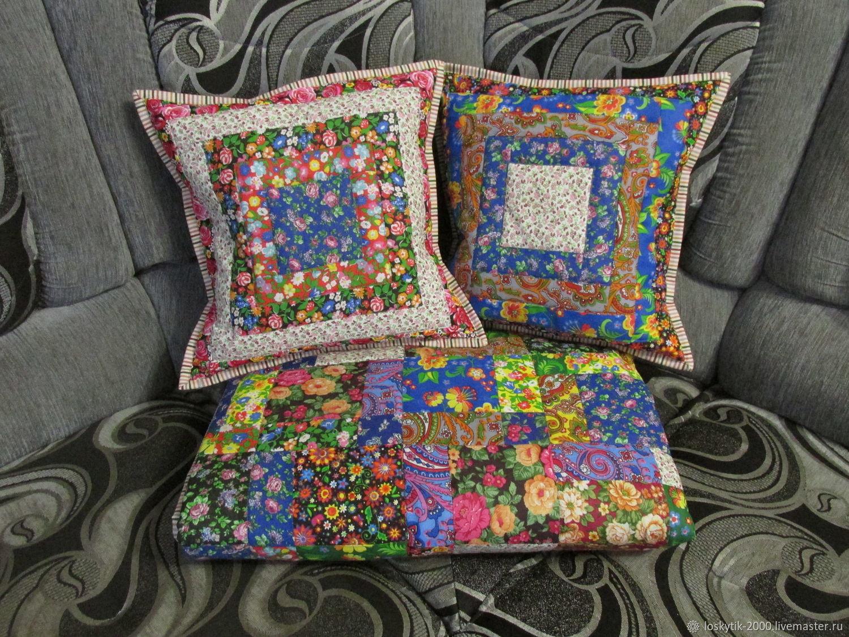 Лоскутное покрывало-одеяло и 2 наволочки, Одеяла, Бобров,  Фото №1