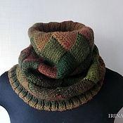 Аксессуары ручной работы. Ярмарка Мастеров - ручная работа Снуд вязаный Зелено-коричневый шарф труба энтерлак. Handmade.