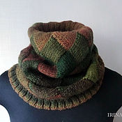 Аксессуары handmade. Livemaster - original item Green knitted Snood brown scarf tube interlock. Handmade.