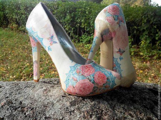 """Обувь ручной работы. Ярмарка Мастеров - ручная работа. Купить """"Романтика всегда рядом"""" женская обувь с цветочным мотивом ручная. Handmade."""
