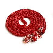 Украшения handmade. Livemaster - original item Lariat beaded Red. Handmade.