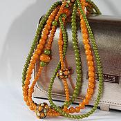 Украшения handmade. Livemaster - original item Long multi-row beads juniper in green and terracotta colours. Handmade.