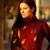 Одежда handmade. Livemaster - original item Knitted Burgundy sweater with an oversized brooch