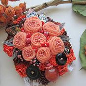 """Украшения ручной работы. Ярмарка Мастеров - ручная работа Брошь """"Персиковый джем"""" с сердоликом. Handmade."""