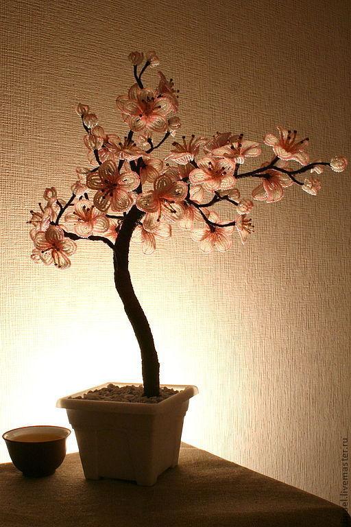 Деревья ручной работы. Ярмарка Мастеров - ручная работа. Купить Сакура из бисера. Handmade. Дерево, бисер тайвань, грунт