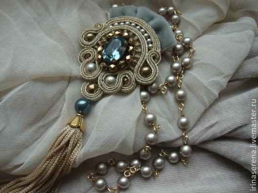 """Броши ручной работы. Ярмарка Мастеров - ручная работа. Купить Сутажная брошь-кулон """"  Indian Sapphire """".. Handmade."""