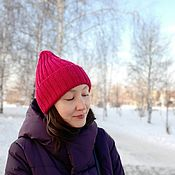 Аксессуары handmade. Livemaster - original item Hats: knitted cap-elastic wool blend 54-56 size fuchsia. Handmade.