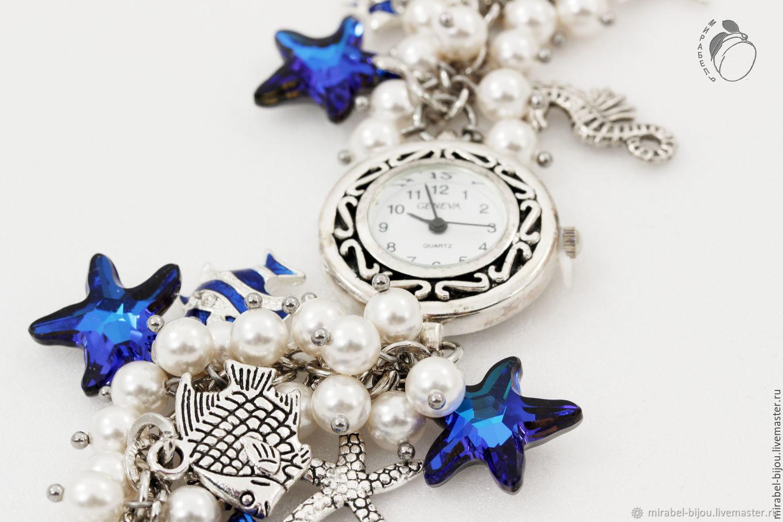 7bc2acbb Наручные часы ручной работы. Часы Время приключений. Женские, в морском  стиле.