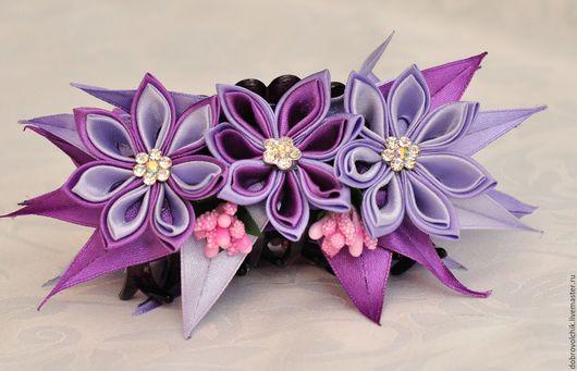 """Заколки ручной работы. Ярмарка Мастеров - ручная работа. Купить Крабик """"Сиреневые цветы"""". Handmade. Комбинированный, крабик, канзаши"""