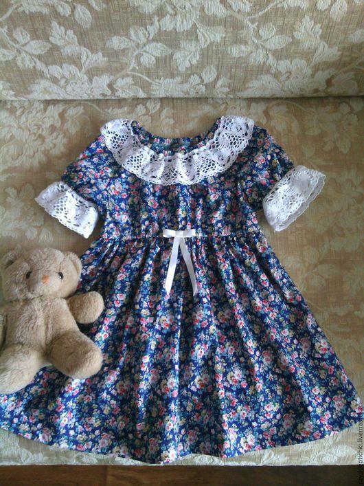 """Одежда для девочек, ручной работы. Ярмарка Мастеров - ручная работа. Купить платье для девочки""""Романтика"""". Handmade. Тёмно-синий, романтический стиль"""