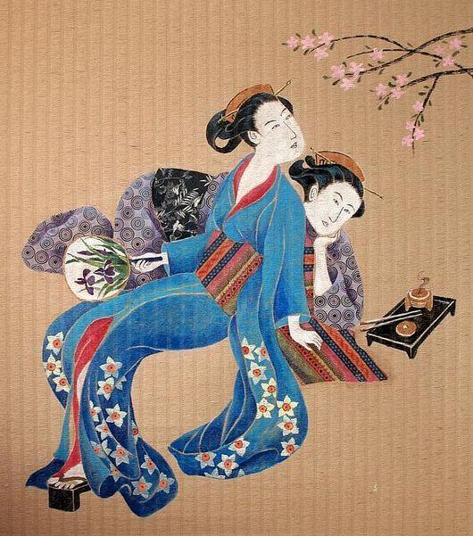 Этно ручной работы. Ярмарка Мастеров - ручная работа. Купить Панно - рулонная штора «Две девочки». Handmade. Япония, весна