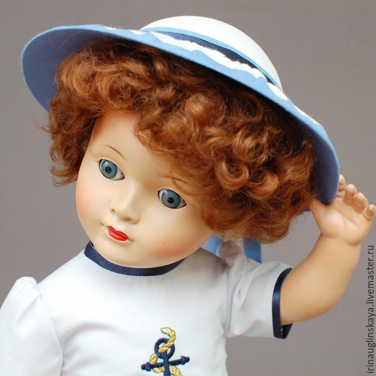 Одежда для кукол ручной работы. Ярмарка Мастеров - ручная работа. Купить Одежда для кукол. Наряд для винтажной куклы в морском стиле. Handmade.