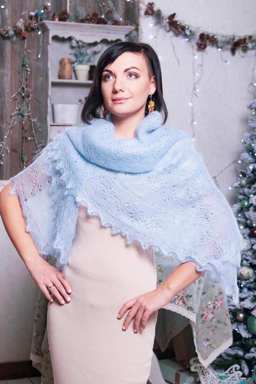 Downy handkerchief pale blue, Shawls1, Moscow,  Фото №1