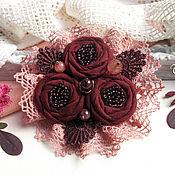 """Украшения ручной работы. Ярмарка Мастеров - ручная работа """"Бордовая роза"""" бохо брошь цветок вишневый букет. Handmade."""