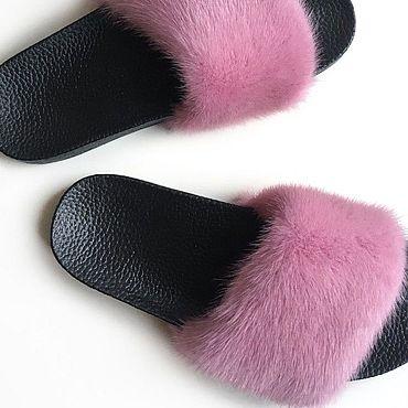 Обувь ручной работы. Ярмарка Мастеров - ручная работа Шлёпки с мехом норки пудрового цвета. Handmade.