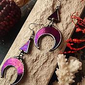 Украшения handmade. Livemaster - original item Earrings made of beautiful purple glass with iridescence (e-015-04). Handmade.