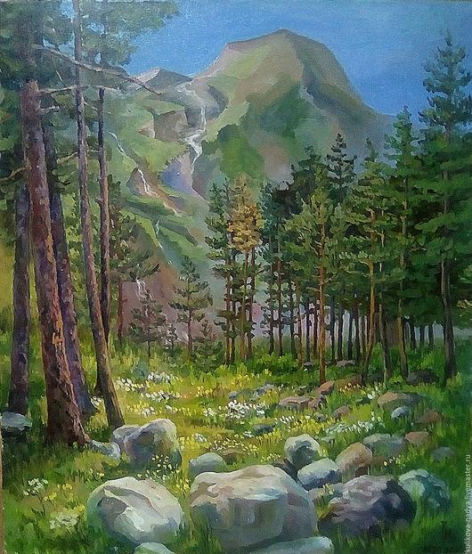 Пейзаж ручной работы. Ярмарка Мастеров - ручная работа. Купить Приэльбрусье. Handmade. Комбинированный, пейзаж, горы, масляная живопись