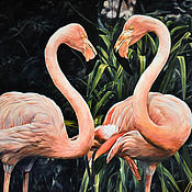 Картины и панно handmade. Livemaster - original item Oil painting Pair of pink flamingos 100h130 cm. Handmade.
