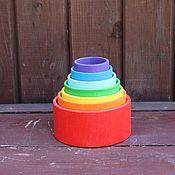 """Мягкие игрушки ручной работы. Ярмарка Мастеров - ручная работа """"Чаши-вкладыши (7 цветов)"""". Деревянная развивающая игрушка. Handmade."""