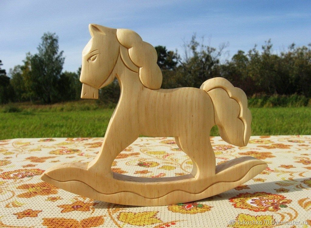 Rocking horse made of wood. The figure of the wooden horse, Stuffed Toys, Tomsk,  Фото №1