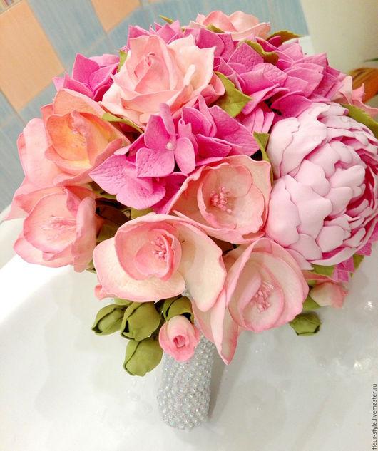 """Свадебные цветы ручной работы. Ярмарка Мастеров - ручная работа. Купить Букет невесты """"Зефир"""". Handmade. Розовый, из цветов, фрезия"""