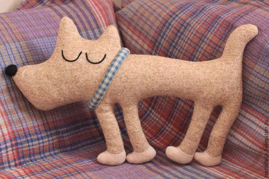 Детская ручной работы. Ярмарка Мастеров - ручная работа. Купить Интерьерная мягкая игрушка-подушка Спящая собачка. Handmade. Бежевый