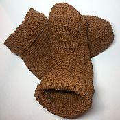 Аксессуары ручной работы. Ярмарка Мастеров - ручная работа Носки коричневые из натуральной шерсти ручной работы. Handmade.