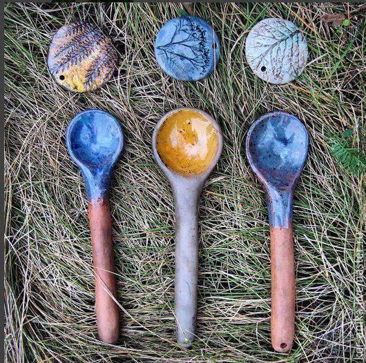 Ложки ручной работы. Ярмарка Мастеров - ручная работа. Купить Керамические ложки. Handmade. Синий, посуда, ручная лепка, глазурь