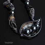 """Украшения handmade. Livemaster - original item Necklace """"Foliagе"""", black porcelain with crystalline glaze. Handmade."""