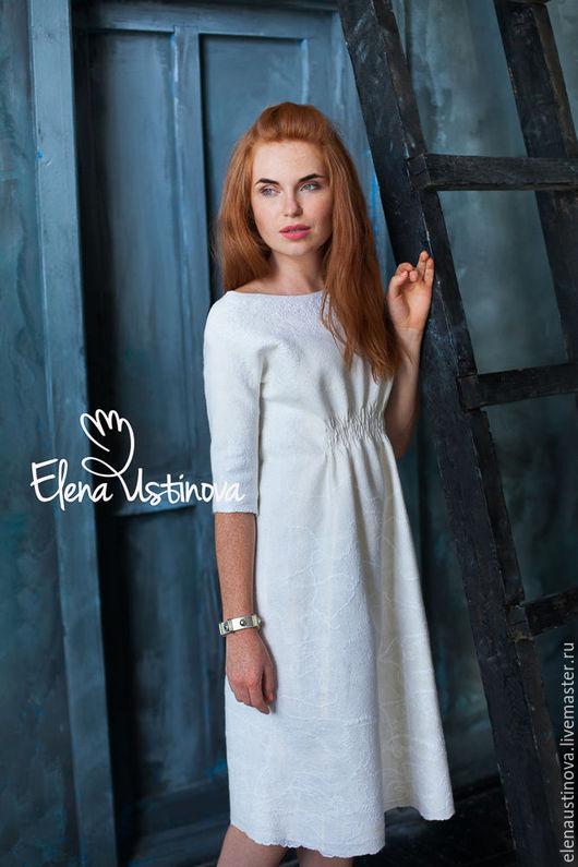 """Платья ручной работы. Ярмарка Мастеров - ручная работа. Купить Валяное платье """"Нежность"""". Handmade. Белый, белое платье"""
