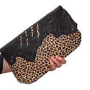 Сумки и аксессуары handmade. Livemaster - original item Leather clutch - Leopard. Handmade.