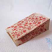 Материалы для творчества ручной работы. Ярмарка Мастеров - ручная работа Крафт пакет, бумажный, с рисунком Новый Год, 19х10х7, упаковка, пакеты. Handmade.
