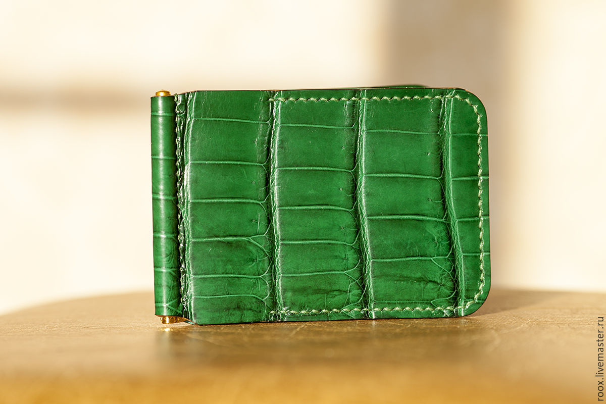 Wallet with money clip crocodile leather, Clamps, Moscow,  Фото №1