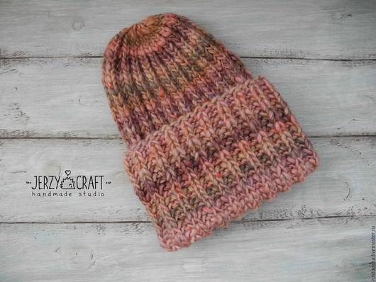 Шапка тыковка шапочка зимняя шапка теплая шапка с отворотом шапочка с подворотом тыква  из толстой пряжи шапка объемная шапка теплая зимняя из шерсти шапочка вязаная спицами шапка такори толстая шапка